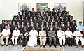 Pranab Mukherjee, the Governor of Karnataka, Shri H.R. Bhardwaj and the Chief Minister of Karnataka, Shri Siddaramaiah, in a group photographs, during the Golden Jubilee Celebrations of Sainik School, Bijapur, at Karnataka.jpg