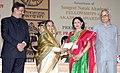 Pratibha Devisingh Patil presenting the Sangeet Natak Akademi Award-08 to Smt. Saroja Vaidyanathan for her contribution to Bharatanatyam.jpg