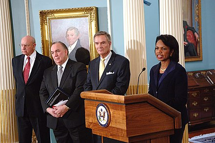 Secretary Condoleezza Rice with (left to right): Tom Pickering, John Engler and John Breaux at the presentation of Final Report of the Secretary's Advisory Committee on Transformational Diplomacy Presentation of Final Report of the Secretary's Advisory Committee on Transformational Diplomacy.jpg