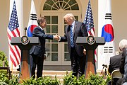 President Donald J. Trump welcomes President Moon Jae-in of the Republic of Korea to the White House (35520219101)