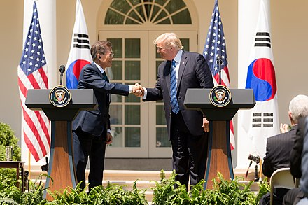 President Moon Jae-in with U.S. President Donald Trump in the Rose Garden of the White House in Washington, D.C. on June 30, 2017 President Donald J. Trump welcomes President Moon Jae-in of the Republic of Korea to the White House (35520219101).jpg