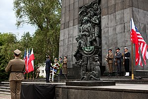 Monument to the Ghetto Heroes - President Barack Obama at the monument during his visit to Poland, May 27, 2011