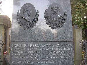 Carl Borivoj Presl - Gravesite of the Presl brothers at the Vysehrad Cemetery in Prague.
