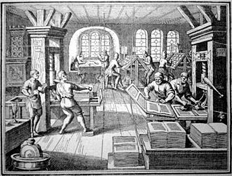 Typography - A sixteenth century workshop in Germany showing a printing press and many of the activities involved in the process of printing