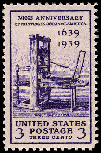 Stephen Daye - 1939 U.S. stamp commemorating the 300th anniversary of printing in colonial America