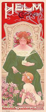 Manifesto pubblicitario di una ditta produttrice di cacao (Privat-Livemont, 1899).