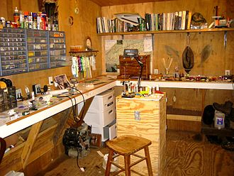 Fly tying - A production fly tyer's bench and materials