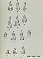 Projectile points, Rose Spring (a,b,c), Eastgate (d,e,f), Cottonwood (g,h,i,j) Desert Side-Notched (k,l,m) - A cultural resource management plan for the Fossil Falls-Little Lake locality (IA culturalresource00garf) (page 47 crop).jpg