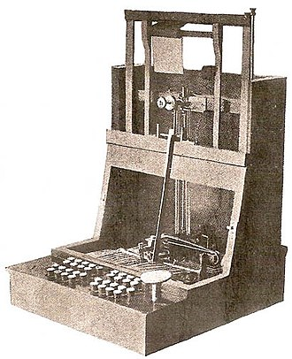 Christopher Latham Sholes - John Pratt's Pterotype, the inspiration for Sholes in July 1867, a version close to the stock model advocated by fellow inventor Frank Haven Hall.