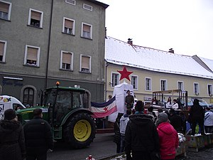 Yugo-nostalgia - Yugoslav flag during a carnival in Ptuj, Slovenia, in 2013