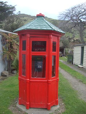 English: Public phone in Okains Bay.
