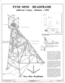 Pyne Mine, Headfraom, c. 1942 - Pyne Red Ore Mine, Headframe, State Route 150, Bessemer, Jefferson County, AL HAER ALA,37-BES.V,9A- (sheet 1 of 1).png