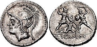 Minucia (gens) - Denarius of Quintus Minucius Thermus, 103 BC.  The obverse depicts the head of Mars.  The reverse shows a Roman soldier fighting a barbarian and protecting an injured comrade -- a reference to a military exploit of one of his ancestors.