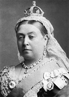 Queen Victoria wearing her small diamond crown in 1882.