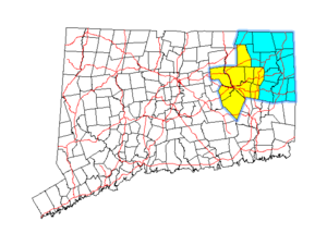 Quiet Corner - Map of Connecticut showing the Northeastern Connecticut region in blue and the Windham region in yellow.