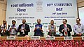 """Radha Mohan Singh releasing the booklet titled """"India in Figures"""", at the celebrations of the 10th National Statistics Day 2016, on the theme 'Agriculture and Farmers Welfare', in New Delhi.jpg"""