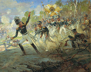 French invasion of Russia - General Raevsky leading a detachment of the Russian Imperial Guard at the Battle of Saltanovka.