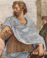 Aristote dans L'École d'Athènes de Raphaël