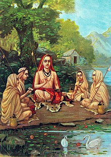 Painting of a sage and four disciples, sitting near water