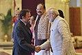 Ram Nath Kovind, the Vice President, Shri M. Venkaiah Naidu and the Prime Minister, Shri Narendra Modi meeting the Sultan of Brunei, Mr. Hassanal Bolkiah, at the Ceremonial Reception, at Rashtrapati Bhavan, in New Delhi.jpg