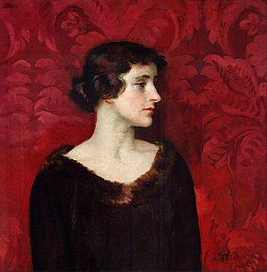 George Henry Morris - Mrs Gerard Tharp against Red Damask, ca 1920, by William Bruce Ellis Ranken