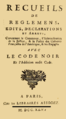 Recueils règlemens édits déclarations arrêts justice, police colonies françaises Amérique engagés Code noir.png