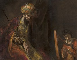 David speelt harp voor Saul, schilderij van Rembrandt