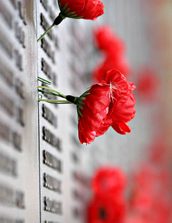 The remembrance poppy is an artificial flower that has been used since 1921 to commemorate war dead. Remebrance poppy ww2 section of Aust war memorial.jpg