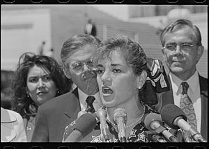 Loretta Sanchez - Sanchez speaking at a Congressional Hispanic Caucus press conference outside the Capitol in 1997