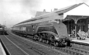 Retford railway station - Up Leeds express in 1954
