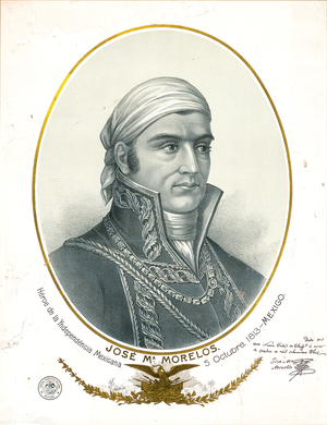 José María Morelos - Engraving of Morelos, signed three weeks after the Congreso de Anáhuac in Chilpancingo.