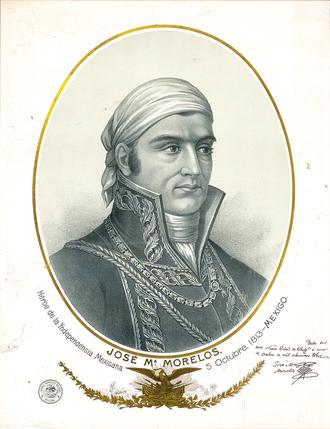 José María Morelos - Engraving of Morelos, signed three weeks after the Congreso de Anáhuac in Chilpancingo.