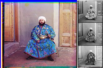 Color photography - The Emir of Bukhara, Alim Khan, in a 1911 color photograph by Sergey Prokudin-Gorsky. At right is the triple color-filtered black-and-white glass plate negative, shown here as a positive.