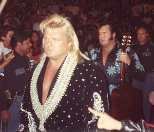 Greg Valentine - Valentine (left) with his Rhythm and Blues tag team partner The Honky Tonk Man
