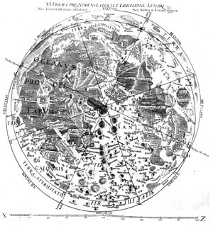 Lunar craters - Image: Riccioli 1651Moon Map