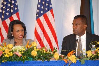 Fred Mitchell (Bahamas) - Fred Mitchell with Condoleezza Rice