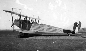 Rich Field - A Curtiss JN-4 at Rich Field painted to brag of the low fatality rate at the field - one per 4,000 hours.