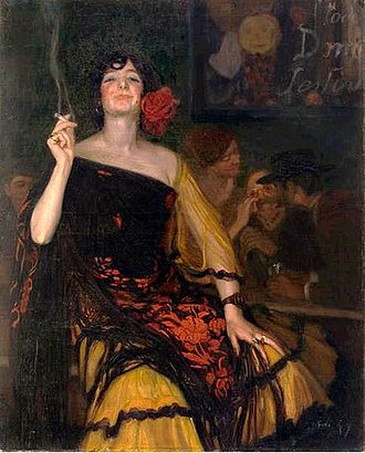"""Baldomer Gili i Roig - La Ricitos (1912). Loosely translated: """"The Woman of the Little Curls"""" (of smoke?)"""