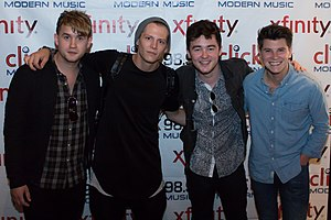 Jake Roche - Jake Roche (second from the right) with Rixton after performing at the Click 98.9 New Artist Showcase in August 2014