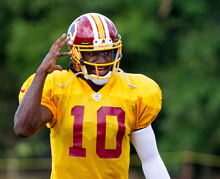 Griffin during Redskins training camp in 2012 Robert Griffin III.jpg