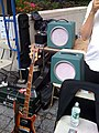 Robert from the Band of Susans' setup - Rickenbacker 400x bass, Park amp head, & Honeywell film projector's speaker boxes (2008-08-15 13.42.58 by evan p. cordes).jpg