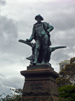 A statue of Burns, complete with plough, outside the Art Gallery of New South Wales in Sydney, Australia