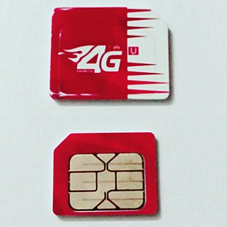 Robi - Robi 4G SIM card, Both sides of the SIM card are presented together.