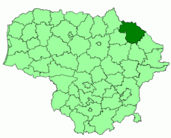 Location of Rokiškis district municipality within Lithuania
