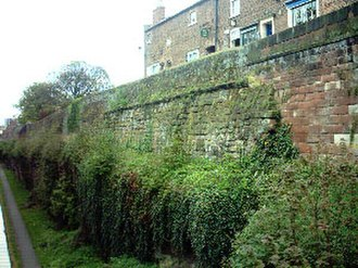 Chester city walls - Roman-era sandstone ashlar is present within the lower tiers of the north west section.