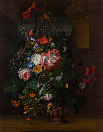 Rachel Ruysch - Roses, Convolvulus, Poppies, and Other Flowers in an Urn on a Stone Ledge
