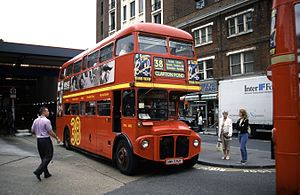 London Buses route 38 - AEC Routemaster at Victoria bus station in August 1998