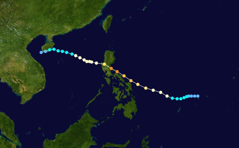 Trayectoria del tifón Ruby (1988).