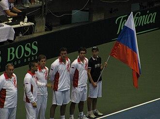 Mikhail Youzhny - The Russian Davis Cup Team in 2009. From right to left: the team captain, Youzhny, Igor Andreev, Marat Safin and Igor Kunitsyn