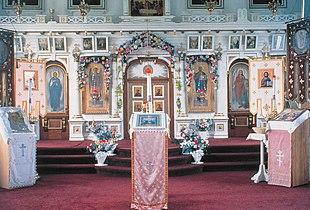 L'interno di una tipica chiesa ortodossa in Alaska.